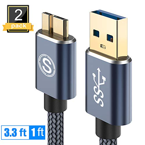 Galaxy S5/Note 3 Charger Cable, 2Pack(1ft,3.3ft) Sweguard USB 3.0 Micro B Cable Nylon Braided Charging Cord for Samsung Note/Tab Pro 12.2,Toshiba Seagate WD External Hard Drive,Camera etc (Grey)