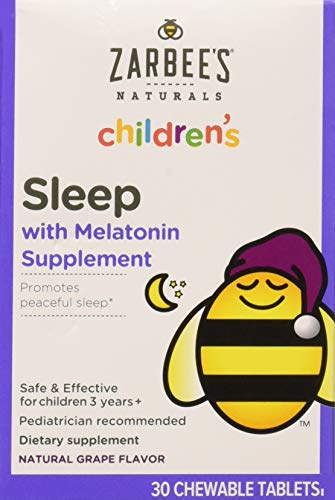 30 Sleep Tablets - Zarbee's Naturals Children's Sleep with Melatonin Supplement, Chewable Tablets, Natural Grape Flavor, 30 Count, 2 Pack