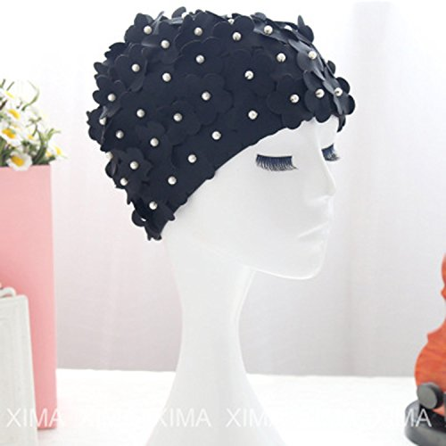 (Onebycitess Floral Petal Swim Cap for Women ¨C Retro Style Vintage Bathing Cap Swimming Hat for Long and Short Hair)