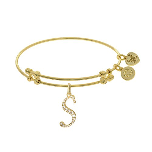 """Angelica Yellow Tone Brass Letter - S"""" Adjustable Bangle Bracelet - 7.25 Inches"""