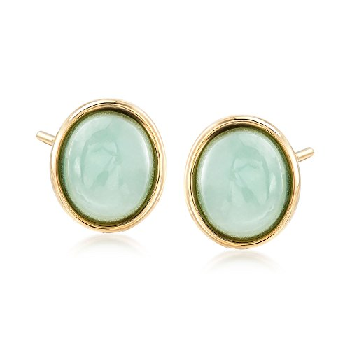 Ross-Simons Oval Green Jade Stud Earrings in 14kt Yellow Gold (14kt Green Oval Jade Earrings)