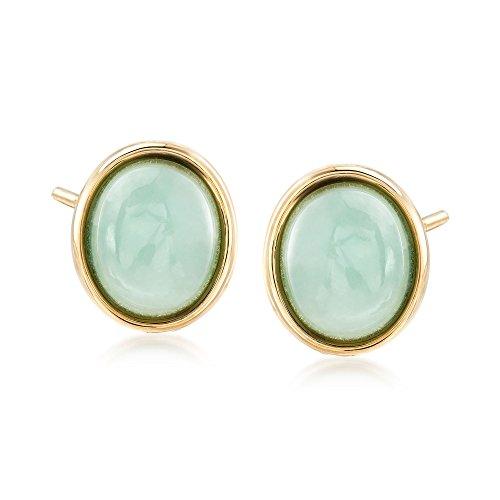 Ross-Simons Oval Green Jade Stud Earrings in 14kt Yellow Gold (Green Oval Jade Earrings 14kt)
