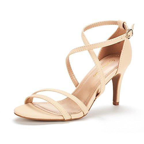 (DREAM PAIRS Women's Gigi Nude Nubuck Fashion Stilettos Open Toe Pump Heeled Sandals Size 8 B(M) US)