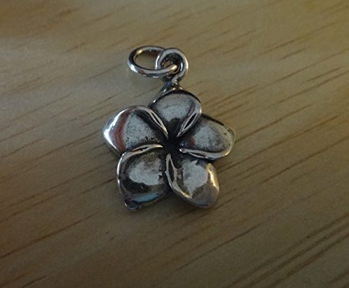 Plumeria 15 Pendant Mm (1 Sterling Silver 3D 17x15mm Plumeria Flower 5 Petal Charm Jewelry Making Supply, Pendant, Charms, Bracelet, DIY Crafting by Wholesale Charms)