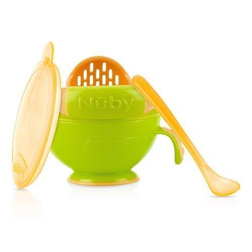 Nuby Garden Fresh Mash 'N' Feed 4 Piece Baby Preparation & Feeding System Green/Orange
