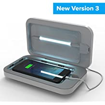 PhoneSoap 3 UV Cell Phone Sanitizer and Dual Universal Cell Phone Charger | Patented and Clinically Proven UV Light Sanitizer | Cleans and Charges All Phones - White
