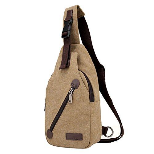 Lienzo Hombres Corsé Hombro Messenger Bag Ocio Deportes Al Aire Libre Brown