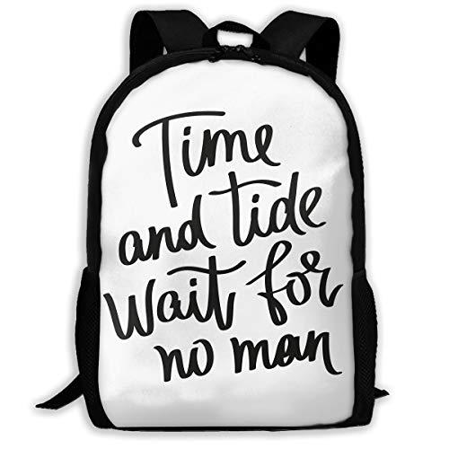 Travel Backpack Laptop Backpack Large Diaper Bag - Time and Tide Wait for No Man Backpack School Backpack for Women & Men