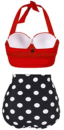 e329f29af9127 Amourri Vintage Polka Underwire High Waisted Swimsuit Bathing Suits Bikini