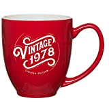 1978 40th Birthday Gifts for Women Men Red Mug - 15 oz Vintage Happy 40 Anniversary Gift Ideas for Husband, Wife, Him, Her, Boyfriend, Girlfriend, Mom, Dad, Son or Daughter -Christmas Present 40 th