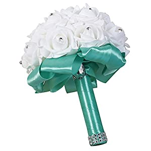 Move on Wedding Bridal Bouquet, Wedding Bride Bouquet, Wedding Holding Bouquet with Artificial Roses, Perfect for Wedding, Church, Party and Home Decor Blue 49
