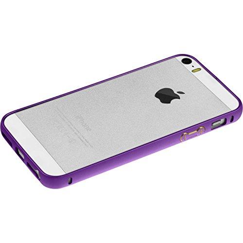 Alu Frame für Apple iPhone 5 / 5s / SE - lila - Cover PhoneNatic Schutzhülle + 2 Schutzfolien