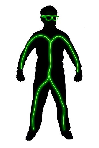 GlowCity Light Up Stick Figure Costume Kit (Childs Size 3-5 FT Tall) Includes Lights, Shades and Clips Only-Attaches Onto Your Own Clothing (Lime Green) - Led Light Stick Man Costume