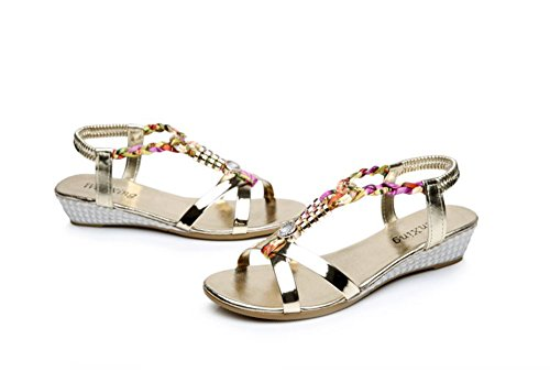Scothen Sandalias de tacón Casual tarde Peep Toe mujeres de las sandalias planas de la hebilla de las sandalias romanas sandalias planas del Rhinestone correa del clip zapatos deslizadores de Bohemia Gold
