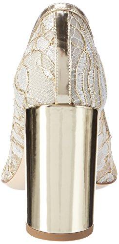 Dei Mille Women's Kelly-90 Closed-Toe Pumps White (Bianco Gold Lace) JMOXLqE7H6