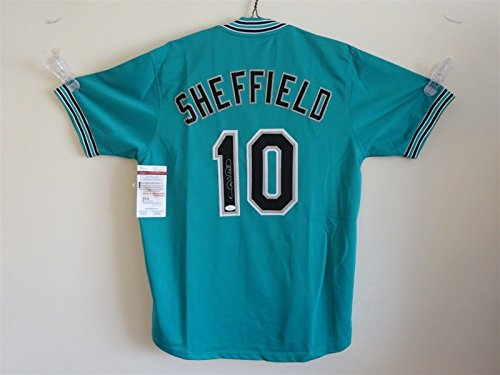 Gary Jersey Autographed Sheffield (GARY SHEFFIELD SIGNED AUTO FLORIDA MARLINS TEAL JERSEY JSA AUTOGRAPHED)