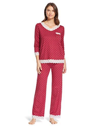 Kathy Ireland Womens Long Sleeve V-Neck Lace Trim Lounge Shirt Pajama Pants Sleep Set Wine Small ()