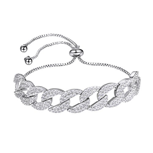 Crystal Pave Link Bracelet - Crystal Cuban Link Bracelet For Women/Girls,White Gold Plated Pave Setting Adjustable Infinity CZ Bracelet