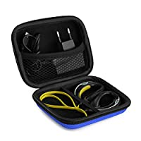 Sports Wireless Bluetooth Headset Carrying Case, Fit Beats Powerbeats 2, Polk UltraFit 3000, JayBird, Sennheiser OMX 680, Skullcandy Chops / Sweat Proof Workout Earbuds Carrying Case (Blue)