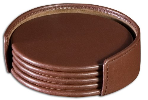 (Dacasso Chocolate Brown Leather 4-Round Coaster Set)