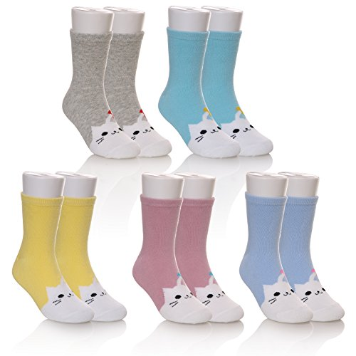 5 Pairs Fashion Cute Animal Patterns Boys Girls Cotton Crew Socks (cat, 6-8 years) (Ideas Gift 1)