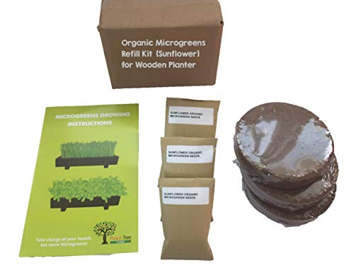 "Organic Sunflower Microgreens 3 Pack Refill – Pre-Measured Soil & Seed. Use with Peach Tree Farm's Beautiful Wooden Microgreen Trays Measuring 16"" x 8"". Easy and Convenient, Enough to Sprout 3 Crops."