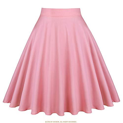 Vintage Skirts Womens 2019 High Waist Retro Women SkirtDaily Summer Skirt,Solid Pink,XXL for $<!--$17.50-->