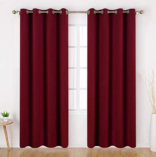 HOMEIDEAS Blackout Curtains - 2 Panels Burgundy Room Darkening Curtains/Drapes, Thermal Insulated Solid Grommet Window Curtains for Bedroom & Living Room, 52 x 95 Inches ()