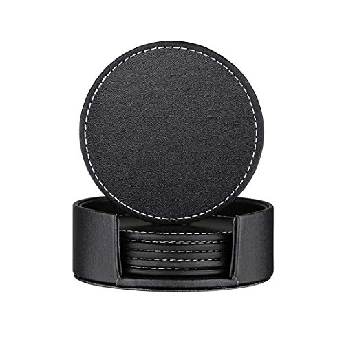 (Thipoten Set of 6 Leather Coasters, Protect Furniture from Water Marks Scratch and Damage, SanPlus Simple and Classy Coasters for Drinks (black))