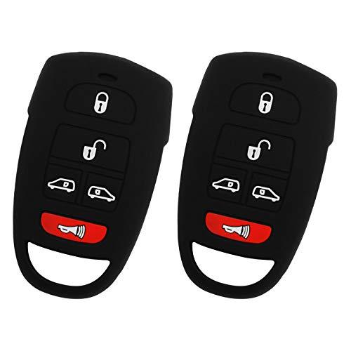 2 For 06-14 Kia Sedona 07-09 Hyundai Entourage Rubber Keyless Entry Remote Key Fob Skin Cover 5btn