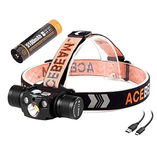 ACEBEAM H30 ist super Heller wiederaufladbarer Scheinwerfer, Cree XHP70.2 LED 4000 Lumen. Es verfügt über weißes, grünes und rotes Licht, kann als Mobile Stromquelle