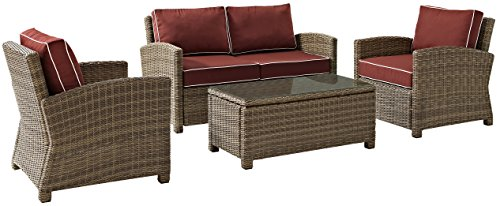 Domain 4 Piece (Crosley Furniture Bradenton 4-Piece Outdoor Wicker Conversation Set with Cushions - Sangria)
