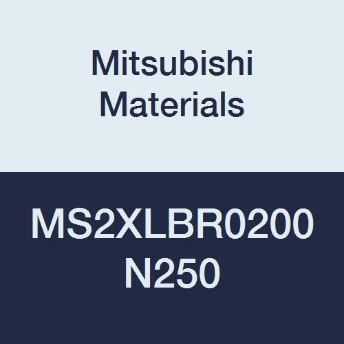 Mitsubishi Materials MS2XLBR0200N250 Series MS2XLB Carbide Mstar Ball Nose End Mill, Short Flute, Long Neck, 2 Flutes, 4 mm Cutting Dia, 2 mm Corner Radius, 25 mm Neck Length