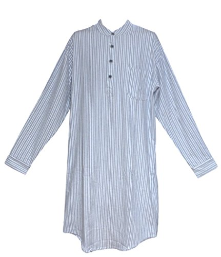 Lee Valley Genuine Irish Flannel Nightshirt, Men's (XXL, Blue Stripe)