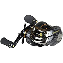 Lure Fishing Reel/Spinning Reel/Bait Casting Reel-Dual Brakes, 17+1 BB, Lightweight, Smooth-Metal, Carbon Fiber, EVA-Right & Left Hand Use Selectable Outdoor Fishing Reel for Lure Rod (LB200 Right)