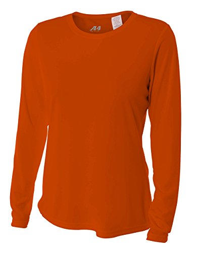 - A4 Women's Cooling Performance Crew Long Sleeve, Athletic Orange, Small