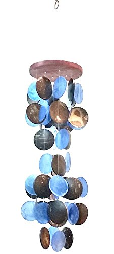 (Bellaa 22920 Wind Chime Capiz Coco Shell Beautiful Sound Blue 26)