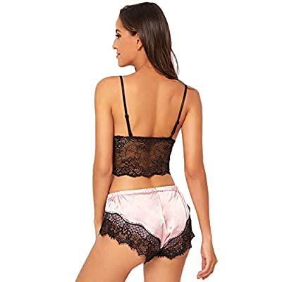 SweatyRocks Women's Lace Cami Top with Shorts with Panties 2 Piece Set Sexy Lingerie Pajama Set at Women's Clothing store