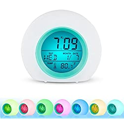 INVENBER Alarm Clock for kids, LED Wake Up Premium Digital Clock with Temperature Display & Nature Sound - 7 Colors Changing (Blue)