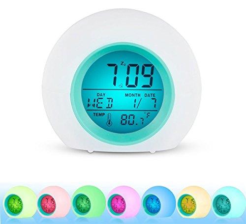 UPC 767520035775, Alarm Clock for kids, INVENBER LED Wake Up Premium Digital Clock with Temperature Display & Nature Sound - 7 Colors Changing (Blue)