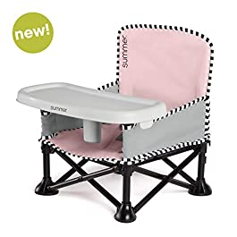 Summer Pop 'n Sit SE Booster Chair, Sweet Life Edition, Bubble Gum Color – Booster Seat for Indoor/Outdoor Use – Fast, Easy and Compact Fold