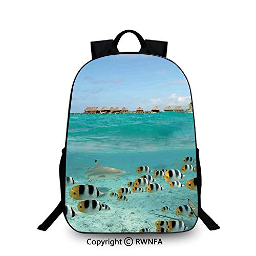 Campus Both shoulders school bag,Blacktip Reef Shark Chasing Butterfly Fish Lagoon of Bora Bora Tahiti School Backpacks For boys Aqua Yellow and Black