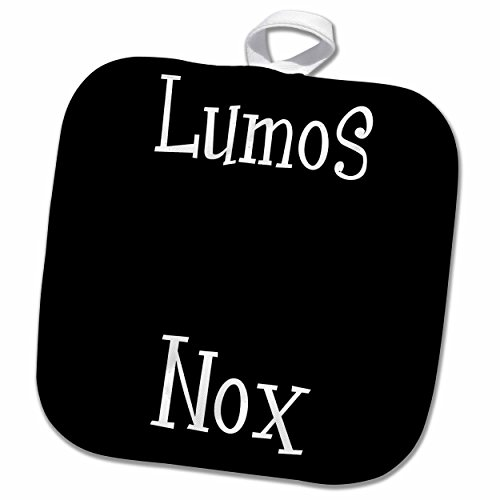 tore Typography - Lumos and Nox - meaning light and dark night - lightness or darkness on or off - Black and White - 8x8 Potholder (phl_123127_1) (Nox Bedding)