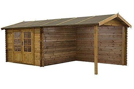 Caseta de jardín / Cabaña de troncos Fonteyn Anna Tejado 720 x 360 cm Alta presión impregnado: Amazon.es: Jardín