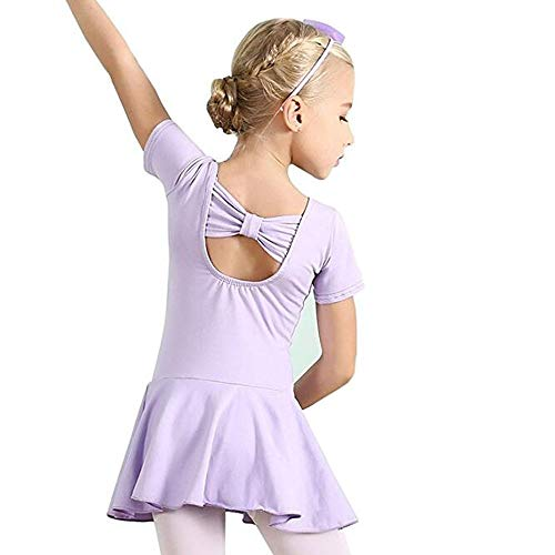 Hesuimaoyi Athletic Dance Leotards,Girls' Short Sleeve Ballet Leotard Skirted Dance Back Bowknot Dress Purple ()