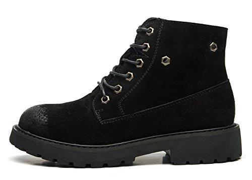 ed39919f6e5a uBeauty Damen Leder Stiefel Chelsea Boots Flache Boots Klassischer  Stiefeletten Schnüren Freizeitschuhe Schwarz