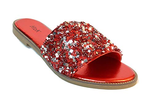(Womens Glitter Bling Fancy Slide Flat Low Wedge Sandals Shoes Dream (6 B(M) US, Red))