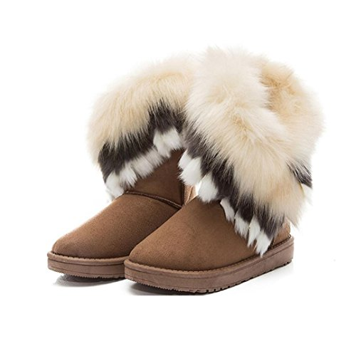 Boot Fashion Fox Mid Calf Sole Yellow Faux Winter Cuff Fur Snow Chunky Womens Boots Ladies Shoes Clode® Leather q5wESy