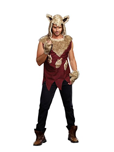 [Dreamgirl Men's Big Bad Wolf Costume Set with Pants, Multi, X-Large] (Costumes For Drama)