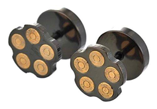 HYPOALLERGENIC Bullet Earrings for Men Stud Earring Screw Back Stainless Steel [Multiple Colors] - Unisex (Black) - Shell Gun